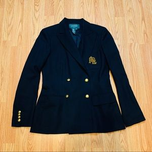 RALPH LAUREN Black Wool Blazer Logo Patch Sz 4 P